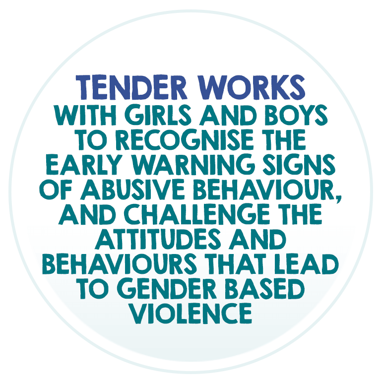 Tender works with girls and boys to recognise the early warning signs of abusive behaviour, and challenge the attitudes and behaviours that lead to gender based violence.