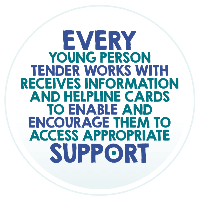 Every young person Tender works with receives information and helpline cards to enable and encourage them to access appropriate support.